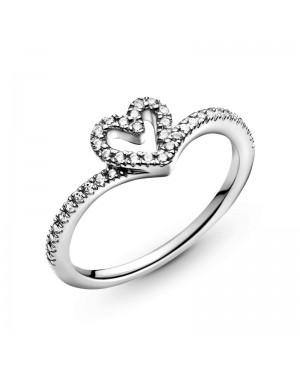Anel Sparkling Wishbone Heart