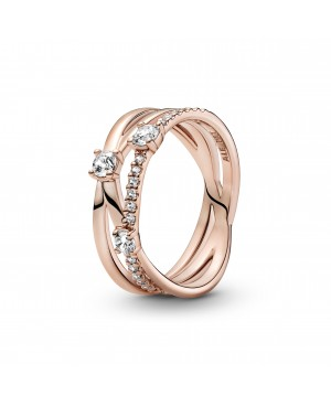 Anel Sparkling Triple Band,...