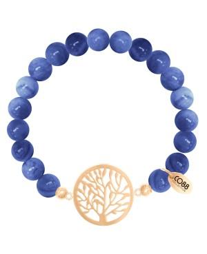 Pulseira Aço C/Pedras Azuis