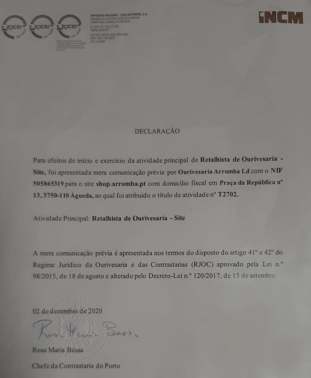 Licença Contrastaria INCM